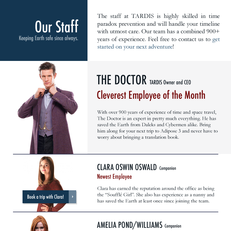 Doctor Who, TARDIS staff, web design