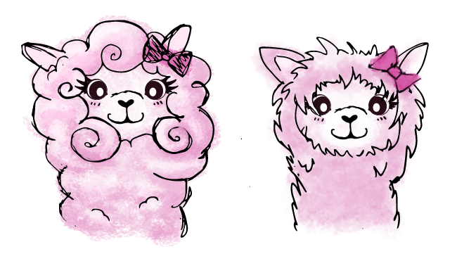 Drawings of a pink alpaca