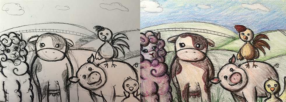 Drawing and coloring farm animals