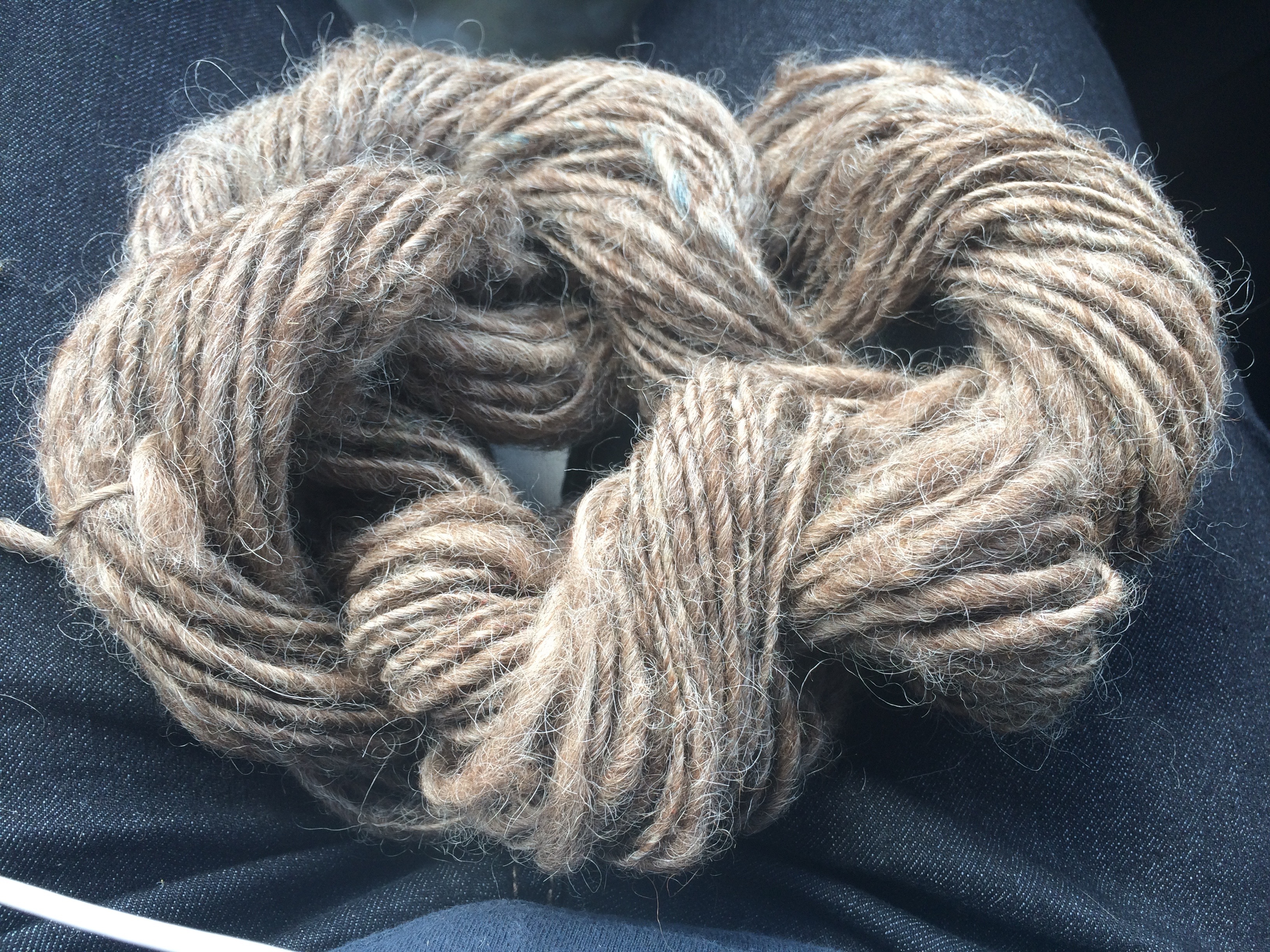 My first attempt at spinning yarn on a wheel