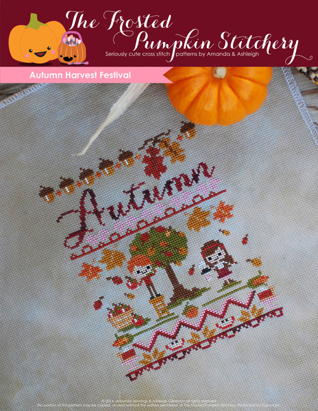 The Frosted Pumpkin Stitchery Autumn Harvest Festival Cross stitch
