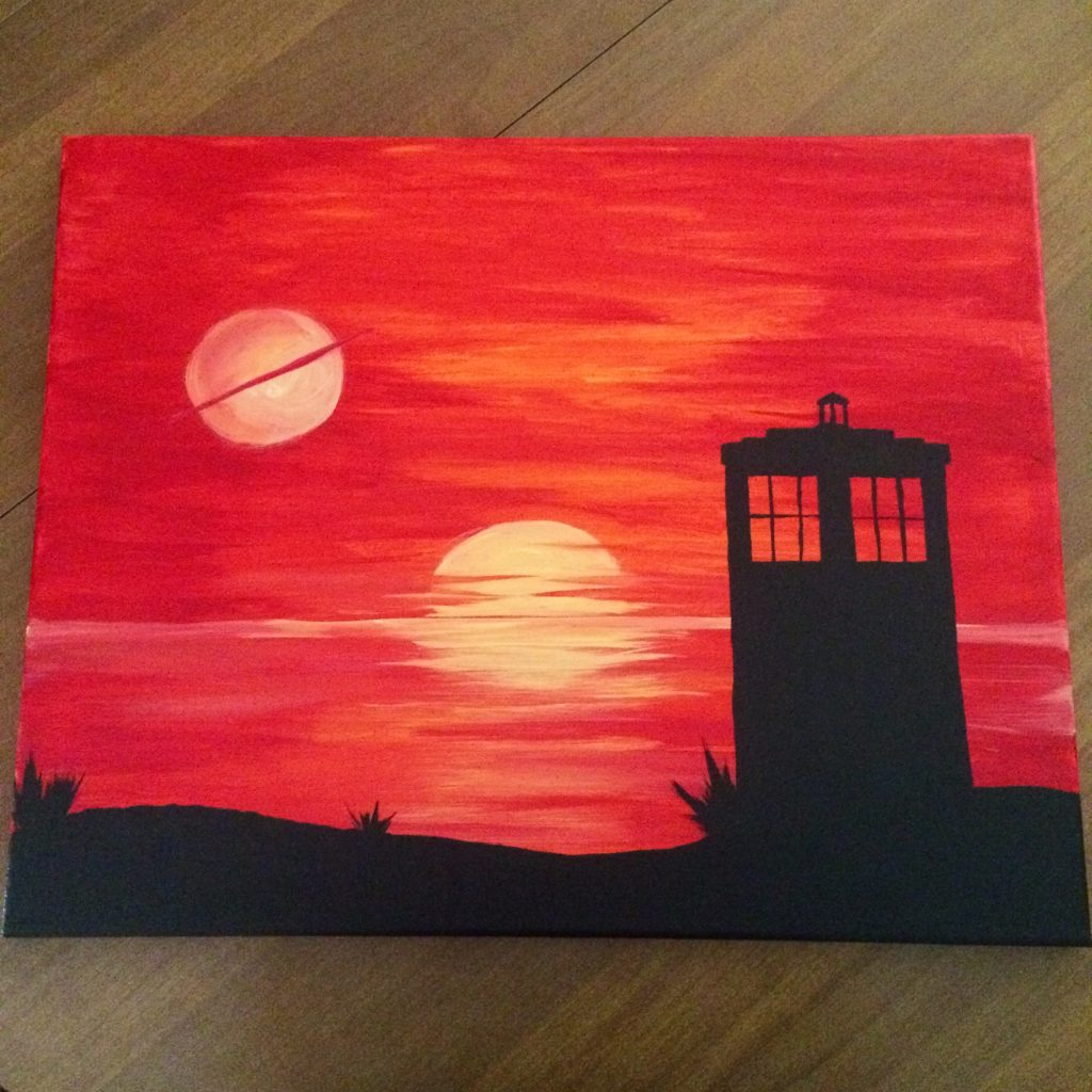 TARDIS sunset painting